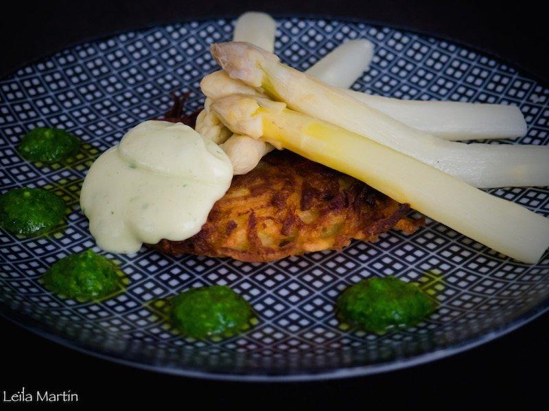 asperges d'Alsace, grumbeerkiechele, mayonnaise à l'ail des ours