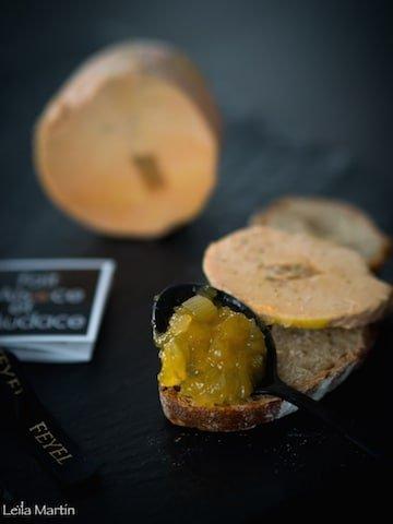 Foie gras Feyel orange Grand Marnier et chutney de manques aux agrumes
