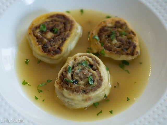 recette anti-gaspi alsacienne de Flesichnakas, escargots à la viande de pot-au-feu