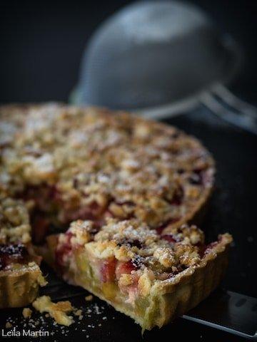 recette de tarte alsacienne rhubarbe fraise et streusel