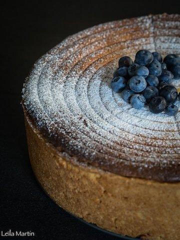 recette d'une tarte au fromage blanc aux myrtilles