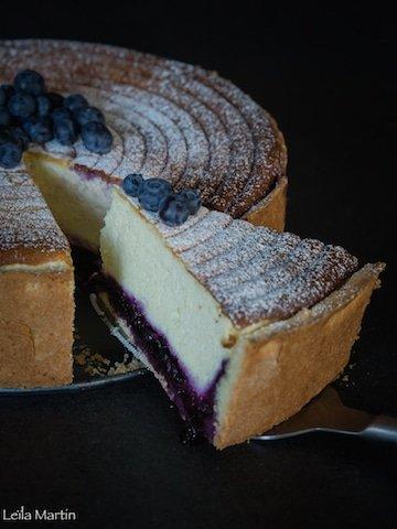 recette de la tarte au fromage blanc à l'Alsacienne revisitée avec du fromage frais et des myrtilles