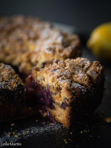 recette du gâteau crazy streusel aux myrtilles et au citron