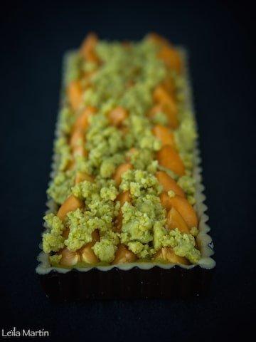 recette de tarte streusel abricots et crème de pistache