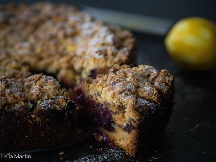 recette de gâteau crazy streusel aux myrtilles et au lemon cure
