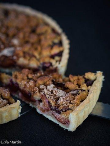 recette de tarte streusel aux quetsches alsacienne avec crème d'amande à la cannelle