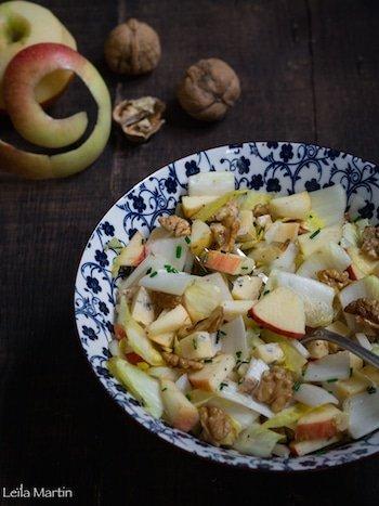 recette de salade d'endives, pommes, bleu des Vosges et noix