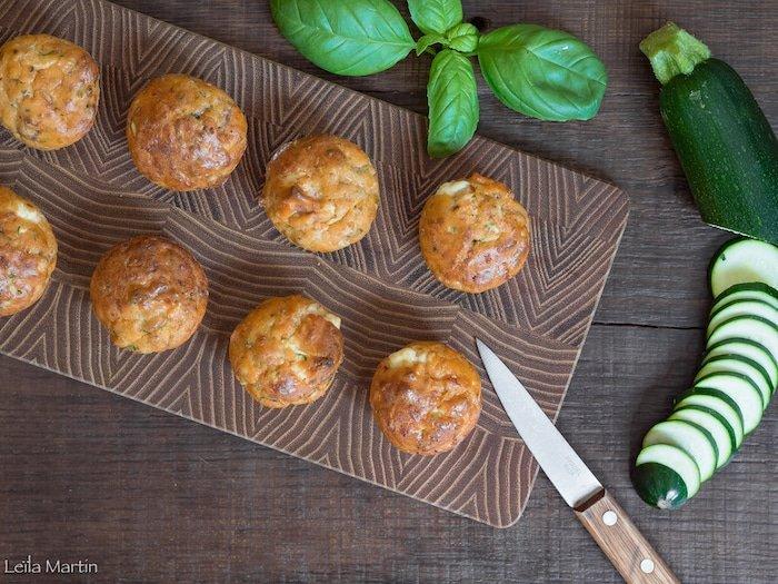 recette de cake courgette, tomates confites et munster blanc en mini-portions