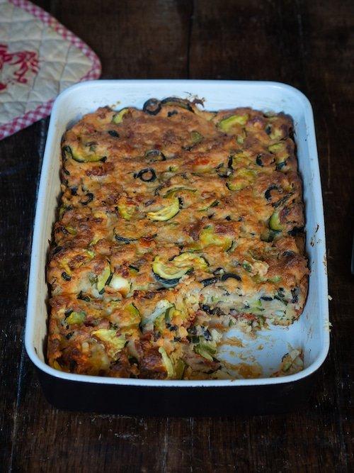 recette de bettelmann aux courgettes, olives noires, tomates confites et munster blanc