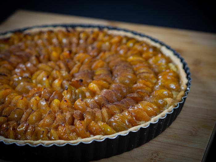 recette de tarte à la mirabelle et à la crème d'amandes